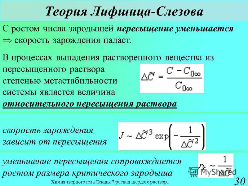 Химия твердого тела Лекция 7 распад твердого раствора 30 Теория Лифшица-Слезова С ростом числа зародышей пересыщение уменьшается скорость зарождения падает. В процессах выпадения растворенного вещества из пересыщенного раствора степенью метастабильно