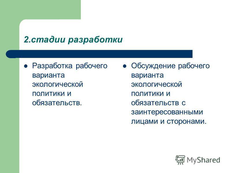 2. стадии разработки Разработка рабочего варианта экологической политики и обязательств. Обсуждение рабочего варианта экологической политики и обязательств с заинтересованными лицами и сторонами.