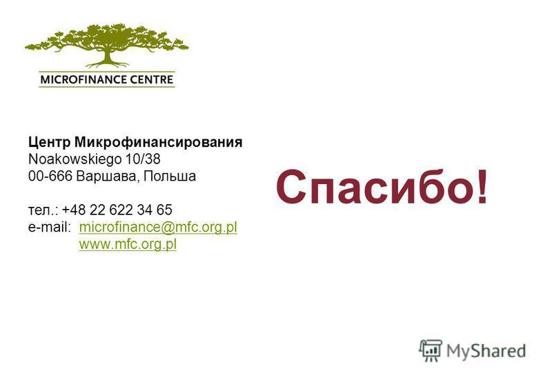 Microfinance Centre Koszykowa 60/62 m. 52 00-673 Warsaw, Poland Tel.: +48 22 622 34 65 Fax: +48 22 622 34 85 www.mfc.org.pl Спасибо! Центр Микрофинансирования Noakowskiego 10/38 00-666 Варшава, Польша тел.: +48 22 622 34 65 e-mail: microfinance@mfc.o