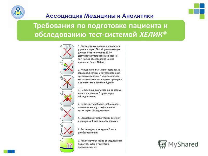 Ассоциация Медицины и Аналитики Требования по подготовке пациента к обследованию тест-системой ХЕЛИК®