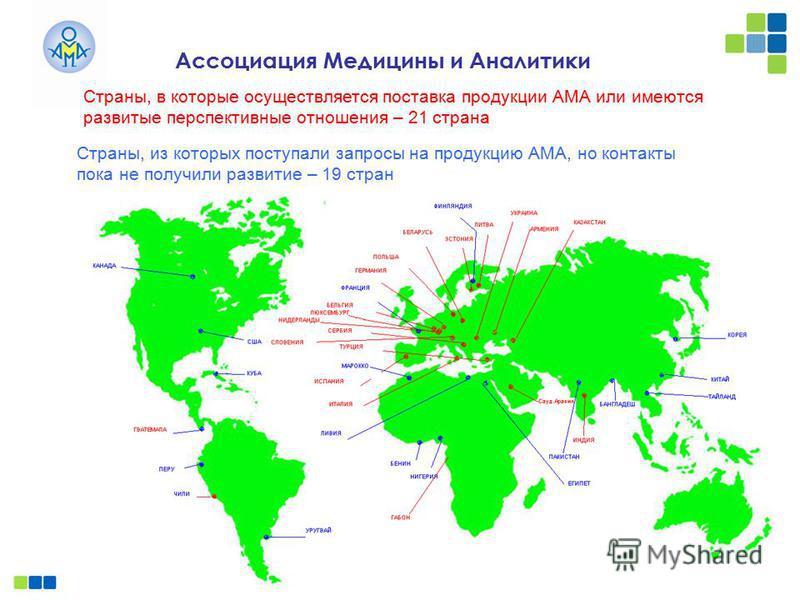 Ассоциация Медицины и Аналитики Страны, из которых поступали запросы на продукцию АМА, но контакты пока не получили развитие – 19 стран Страны, в которые осуществляется поставка продукции АМА или имеются развитые перспективные отношения – 21 страна