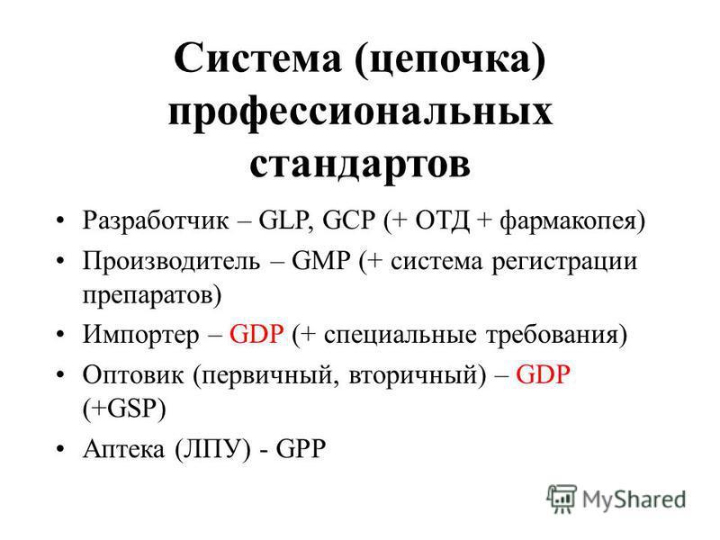 Система (цепочка) профессиональных стандартов Разработчик – GLP, GCP (+ ОТД + фармакопея) Производитель – GMP (+ система регистрации препаратов) Импортер – GDP (+ специальные требования) Оптовик (первичный, вторичный) – GDP (+GSP) Аптека (ЛПУ) - GPP