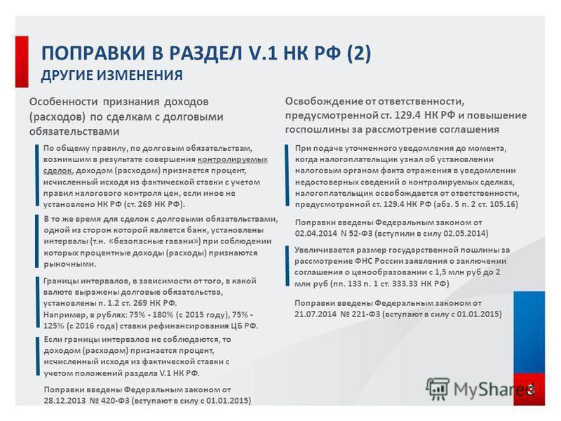 3 Границы интервалов, в зависимости от того, в какой валюте выражены долговые обязательства, установлены п. 1.2 ст. 269 НК РФ. Например, в рублях: 75% - 180% (с 2015 году), 75% - 125% (с 2016 года) ставки рефинансирования ЦБ РФ. По общему правилу, по