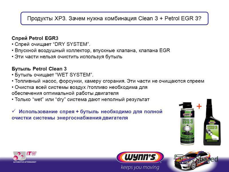 Спрей Petrol EGR3 Спрей очищает DRY SYSTEM. Впускной воздушный коллектор, впускные клапана, клапана EGR Эти части нельзя очистить используя бутыль Бутыль Petrol Clean 3 Бутыль очищает WET SYSTEM. Топливный насос, форсунки, камеру сгорания. Эти части