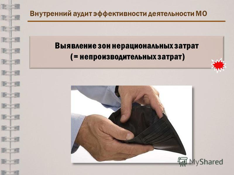 Внутренний аудит эффективности деятельности МО Выявление зон нерациональных затрат (= непроизводительных затрат)
