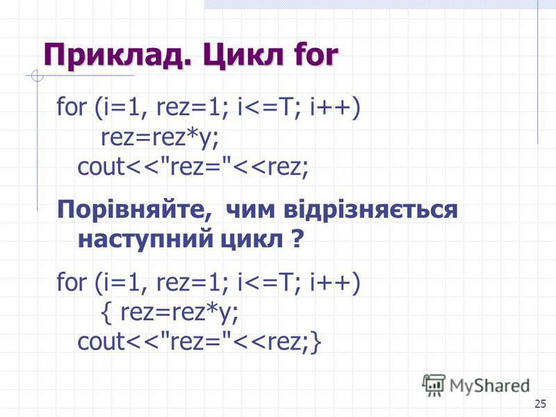 25 Приклад. Цикл for for (i=1, rez=1; i