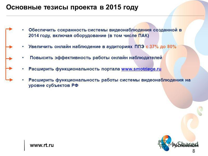 www.rt.ru Основные тезисы проекта в 2015 году 8 Обеспечить сохранность системы видеонаблюдения созданной в 2014 году, включая оборудование (в том числе ПАК) Увеличить онлайн наблюдение в аудиториях ППЭ с 37% до 80% Повысить эффективность работы онлай