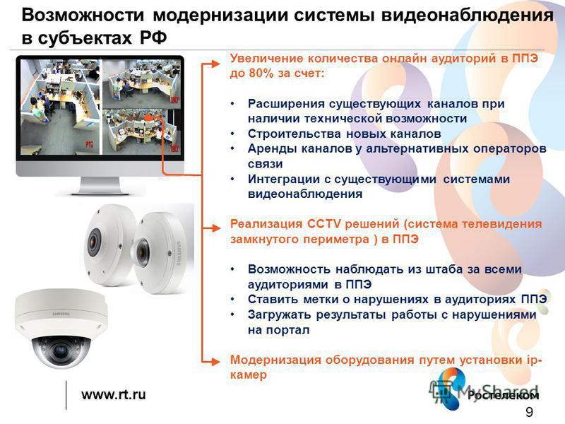 www.rt.ru Возможности модернизации системы видеонаблюдения в субъектах РФ 9 Увеличение количества онлайн аудиторий в ППЭ до 80% за счет: Расширения существующих каналов при наличии технической возможности Строительства новых каналов Аренды каналов у