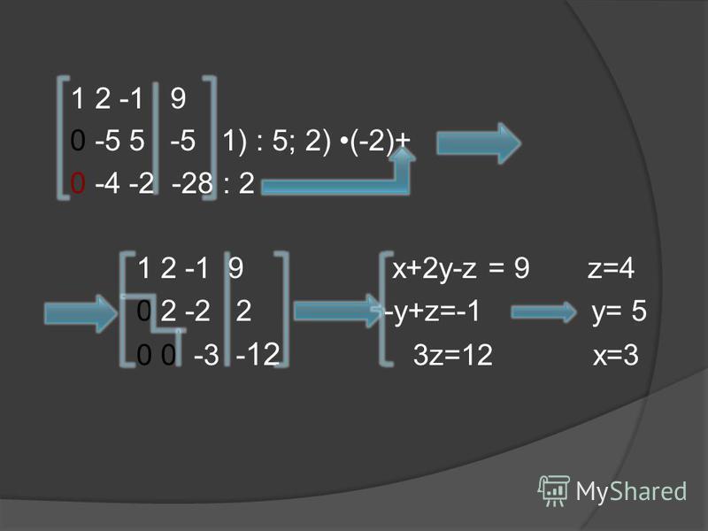 1 2 -1 9 0 -5 5 -5 1) : 5; 2) (-2)+ 0 -4 -2 -28 : 2 1 2 -1 9 x+2y-z = 9 z=4 0 2 -2 2 -y+z=-1 y= 5 0 0 -3 - 12 3z=12 x=3