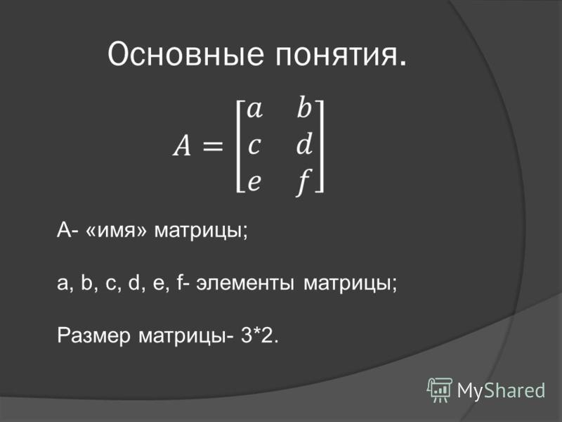 Основные понятия. А- «имя» матрицы; a, b, c, d, e, f- элементы матрицы; Размер матрицы- 3*2.