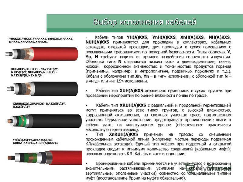 Выбор исполнения кабелей Кабели типов YH(A)KXS, YnH(A)KXS, XnH(A)KXS, NH(A)KXS, NUH(A)KXS применяются для прокладки в коллекторах, кабельных эстакадах, открытой прокладки, для прокладки в сухих помещениях с повышенными требованиями по пожарной безопа