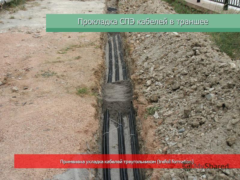 Прокладка СПЭ кабелей в траншее Применена укладка кабелей треугольником (trefoil formation)