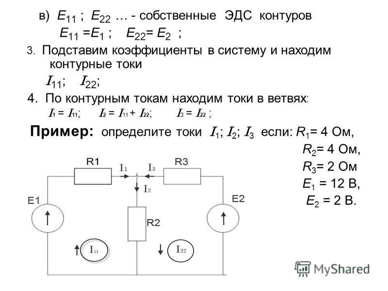в) E 11 ; E 22 … - собственные ЭДС контуров E 11 =E 1 ; E 22 = E 2 ; 3. Подставим коэффициенты в систему и находим контурные токи I 11 ; I 22 ; 4. По контурным токам находим токи в ветвях : I 1 = I 11 ; I 2 = I 11 + I 22 ; I 3 = I 22 ; Пример: опреде