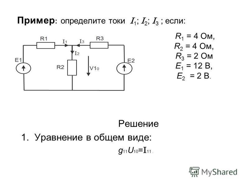 Пример : определите токи I 1 ; I 2 ; I 3 ; если: Решение 1. Уравнение в общем виде: g 11 U 10 = I 11. R 1 = 4 Ом, R 2 = 4 Ом, R 3 = 2 Ом E 1 = 12 В, E 2 = 2 В.