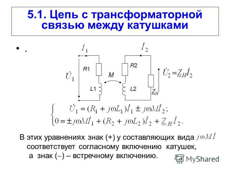 5.1. Цепь с трансформаторной связью между катушками. R1R1 R2R2 L2L2L1L1 ZНZН M В этих уравнениях знак (+) у составляющих вида соответствует согласному включению катушек, а знак ( ) – встречному включению.