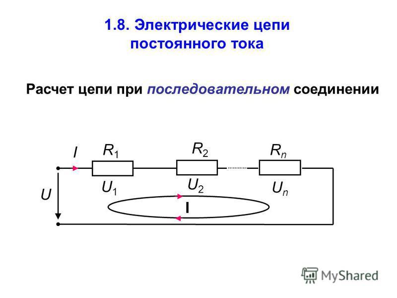 I R1R1 U1U1 U R2R2 RnRn UnUn U2U2 I 1.8. Электрические цепи постоянного тока Расчет цепи при последовательном соединении