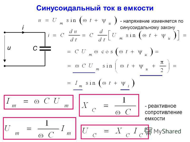 Синусоидальный ток в емкости - реактивное сопротивление емкости u i С - напряжение изменяется по синусоидальному закону