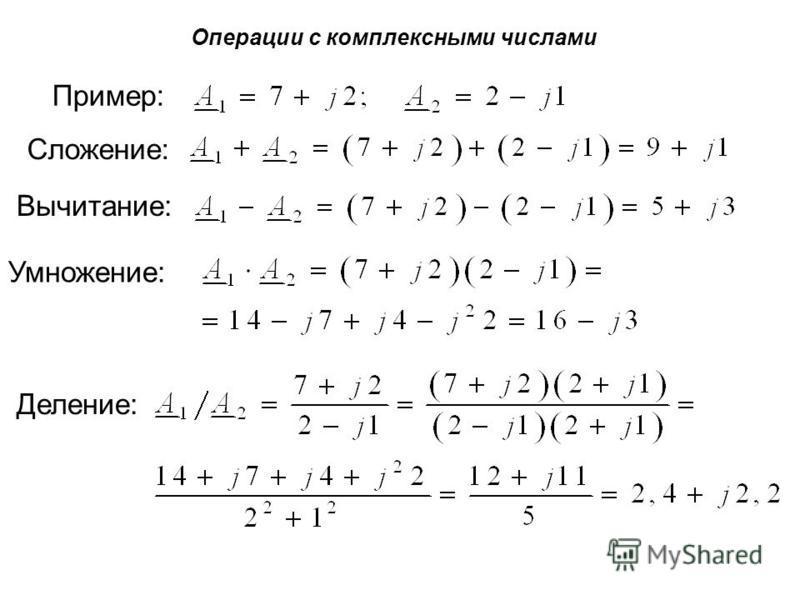 Операции с комплексными числами Пример: Сложение: Вычитание: Умножение: Деление: