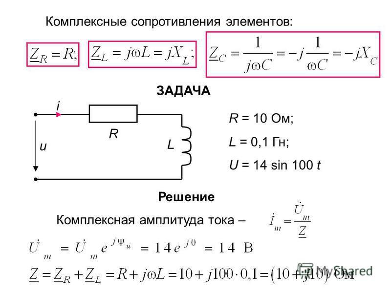 Комплексные сопротивления элементов: ЗАДАЧА i R = 10 Ом; L = 0,1 Гн; U = 14 sin 100 t Решение Комплексная амплитуда тока – R L u