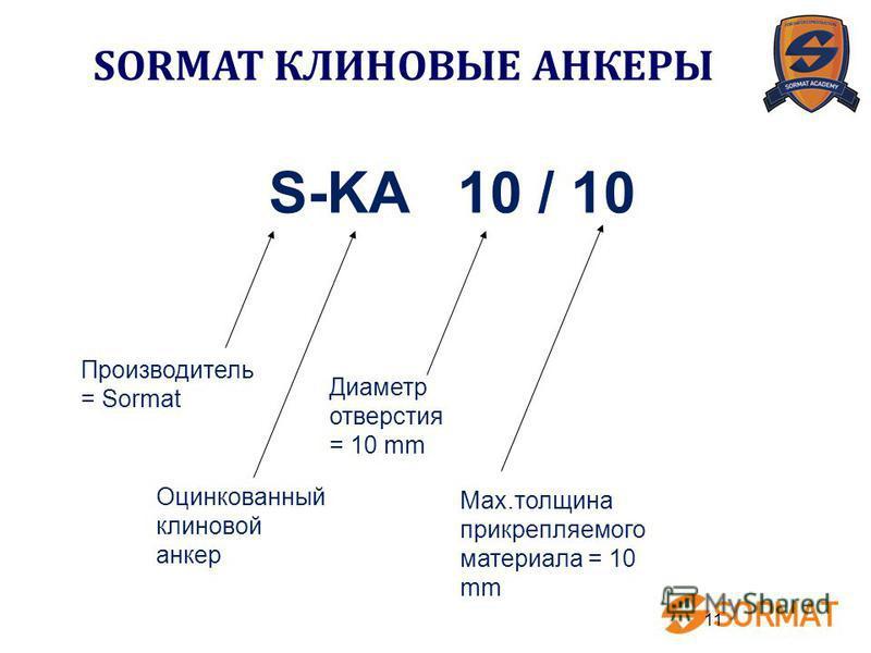 11 S-KA 10 / 10 Производитель = Sormat Оцинкованный клиновой анкер Диаметр отверстия = 10 mm Max.толщина прикрепляемого материала = 10 mm SORMAT КЛИНОВЫЕ АНКЕРЫ
