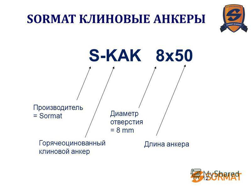 12 S-KAK 8x50 Горячеоцинованный клиновой анкер Длина анкера Производитель = Sormat Диаметр отверстия = 8 mm SORMAT КЛИНОВЫЕ АНКЕРЫ