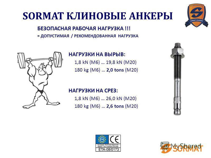 НАГРУЗКИ НА ВЫРЫВ: 1,8 kN (M6) … 19,8 kN (M20) 180 kg (M6) … 2,0 tons (M20) НАГРУЗКИ НА СРЕЗ: 1,8 kN (M6) … 26,0 kN (M20) 180 kg (M6) … 2,6 tons (M20) БЕЗОПАСНАЯ РАБОЧАЯ НАГРУЗКА !!! = ДОПУСТИМАЯ / РЕКОМЕНДОВАННАЯ НАГРУЗКА SORMAT КЛИНОВЫЕ АНКЕРЫ