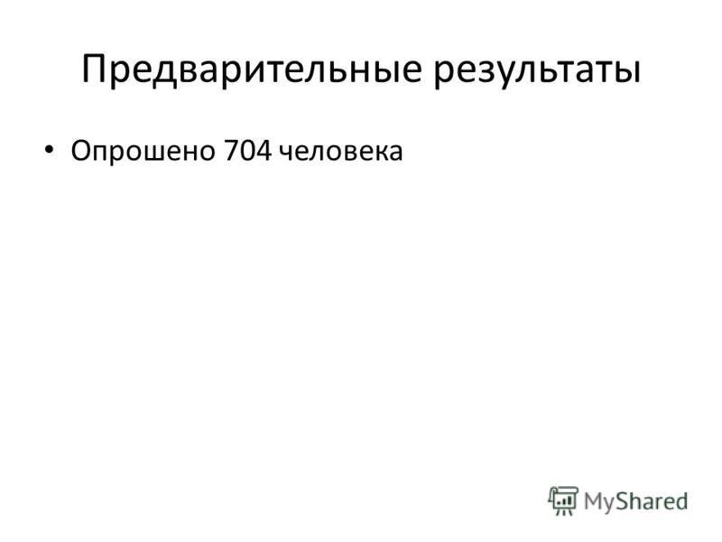 Предварительные результаты Опрошено 704 человека