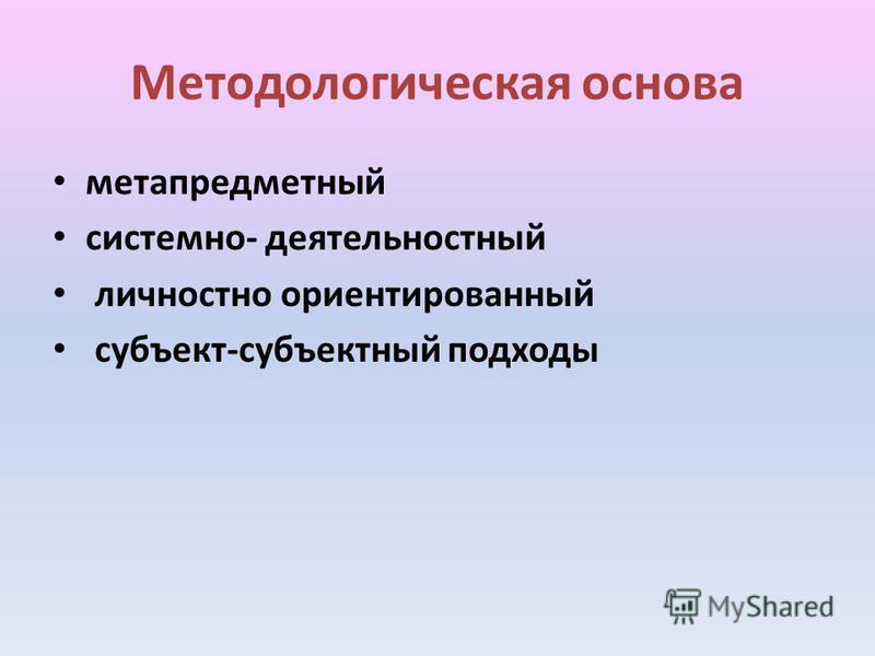 Методологическая основа метапредметный системно- деятельностный личностно ориентированный субъект-субъектный подходы