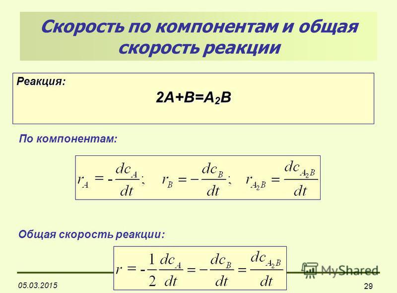 05.03.2015 29 Скорость по компонентам и общая скорость реакции Реакция: 2А+В=А 2 В По компонентам: Общая скорость реакции: