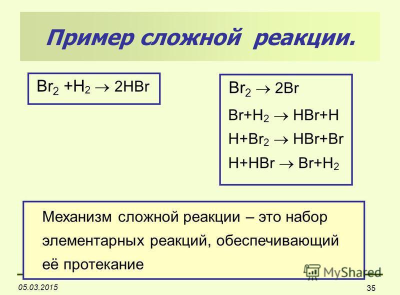 05.03.2015 35 Пример сложной реакции. Br 2 +H 2 2HBr Br 2 2Br Br+H 2 HBr+H H+Br 2 HBr+Br H+HBr Br+H 2 Механизм сложной реакции – это набор элементарных реакций, обеспечивающий её протекание