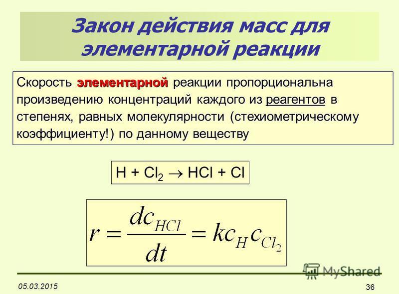 05.03.2015 36 Закон действия масс для элементарной реакции H + Cl 2 HCl + Cl Скорость элементарной реакции пропорциональна произведению концентраций каждого из реагентов в степенях, равных молекулярности (стехиометрическому коэффициенту!) по данному