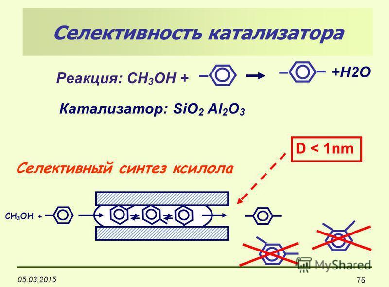 05.03.2015 75 Селективный синтез ксилола CH 3 OH + D < 1nm Селективность катализатора Реакция: СН 3 ОН + Катализатор: SiO 2 Al 2 O 3 +H2O