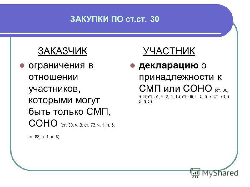 ЗАКУПКИ ПО ст.ст. 30 ЗАКАЗЧИК ограничения в отношении участников, которыми могут быть только СМП, СОНО (ст. 30, ч. 3; ст. 73, ч. 1, п. 6; ст. 83, ч. 4, п. 8). УЧАСТНИК декларацию о принадлежности к СМП или СОНО (ст. 30, ч. 3; ст. 51, ч. 2, п. 1 и; ст