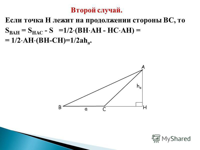 Первый случай. Если точка Н лежит на стороне ВС, то: S АВС =S ВАН +S НАС =1/2(BH HA+HC AH)= =1/2 AH(BH+HC)=1/2 ah а C H А hаhа В а