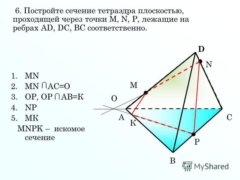 1. МN 2. МN АС=О 3.ОР, ОР АВ=К 4. NP 5. МК МNPK – искомое сечение А В С D M N P О К 6. Постройте сечение тетраэдра плоскостью, проходящей через точки М, N, P, лежащие на ребрах AD, DC, BC соответственно.