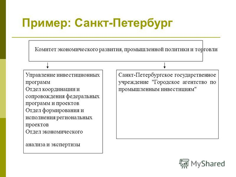 Пример: Санкт-Петербург Управление инвестиционных программ Отдел координации и сопровождения федеральных программ и проектов Отдел формирования и исполнения региональных проектов Отдел экономического анализа и экспертизы Санкт-Петербургское государст