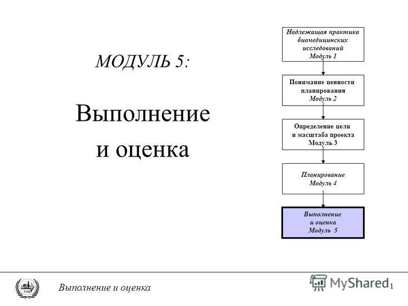 Выполнение и оценка 1 МОДУЛЬ 5: Выполнение и оценка Понимание ценности планирования Модуль 2 Определение цели и масштаба проекта Модуль 3 Планирование Модуль 4 Выполнение и оценка Модуль 5 Надлежащая практика биомедицинских исследований Модуль 1