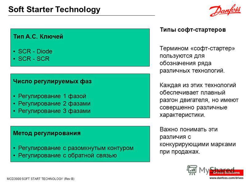 Soft Starter Technology MCD3000 SOFT START TECHNOLOGY (Rev B) Термином «софт-стартер» пользуются для обозначения ряда различных технологий. Каждая из этих технологий обеспечивает плавный разгон двигателя, но имеют совершенно различные характеристики.