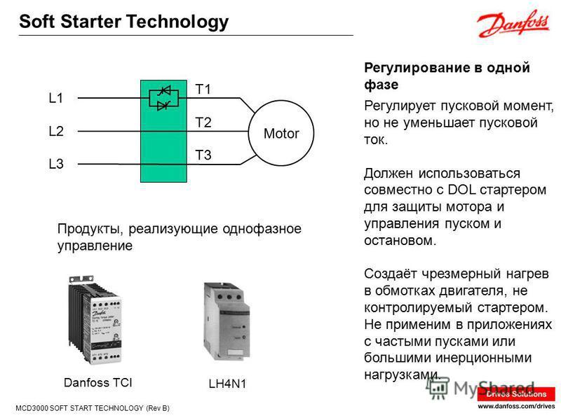 Soft Starter Technology MCD3000 SOFT START TECHNOLOGY (Rev B) Регулирует пусковой момент, но не уменьшает пусковой ток. Должен использоваться совместно с DOL стартером для защиты мотора и управления пуском и остановом. Создаёт чрезмерный нагрев в обм