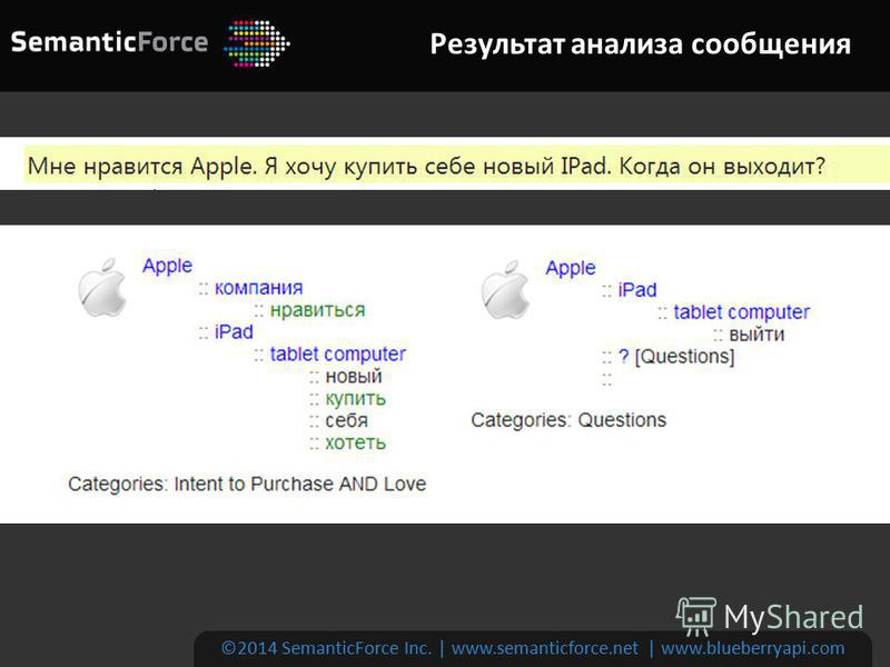 Результат анализа сообщения ©2014 SemanticForce Inc. | www.semanticforce.net | www.blueberryapi.com