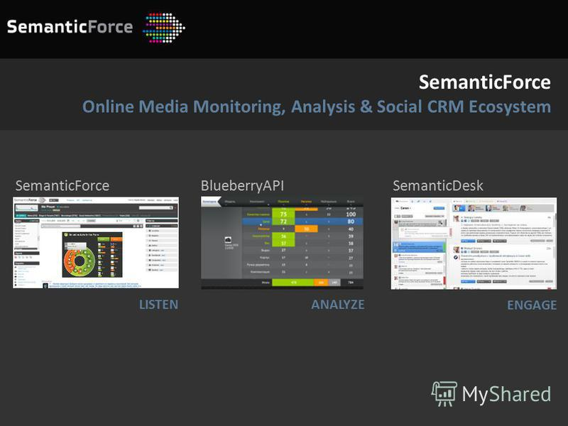 SemanticForce Online Media Monitoring, Analysis & Social CRM Ecosystem LISTEN BlueberryAPI SemanticDeskSemanticForce ANALYZE ENGAGE