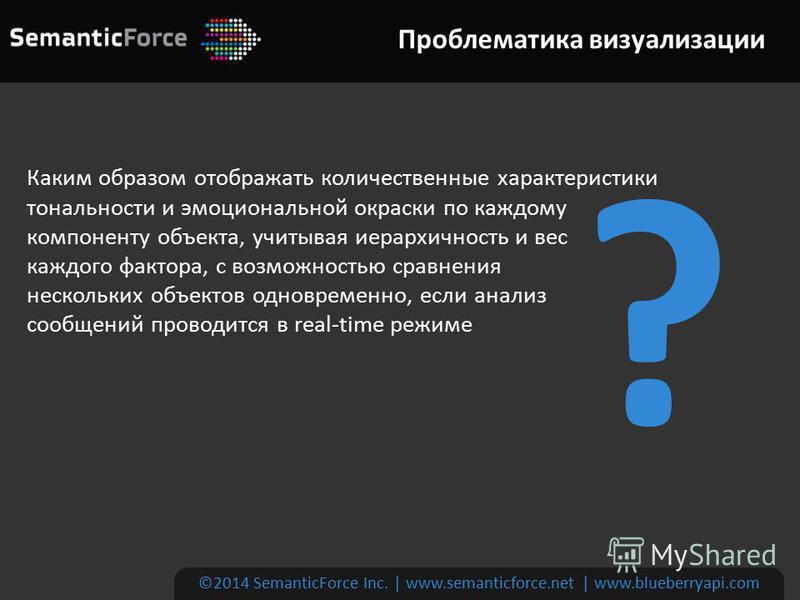 ©2014 SemanticForce Inc. | www.semanticforce.net | www.blueberryapi.com Каким образом отображать количественные характеристики тональности и эмоциональной окраски по каждому компоненту объекта, учитывая иерархичность и вес каждого фактора, с возможно