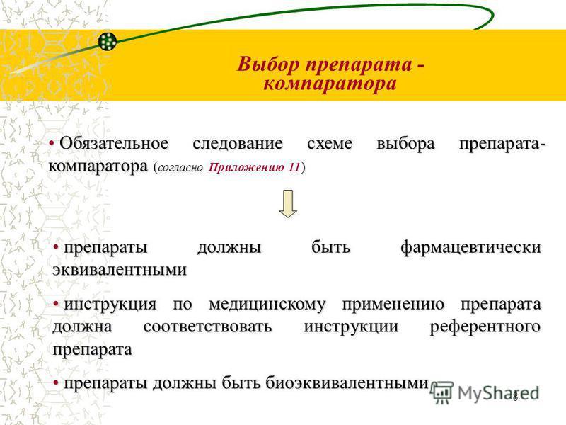 8 Выбор препарата - компаратора Обязательное следование схеме выбора препарата- компаратора ( согласно ) Обязательное следование схеме выбора препарата- компаратора ( согласно Приложению 11 ) препараты должны быть фармацевтическийй эквивалентными пре