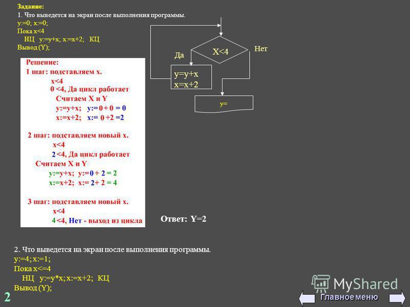 2 Задание: 1. Что выведется на экран после выполнения программы. y:=0; x:=0; Пока x