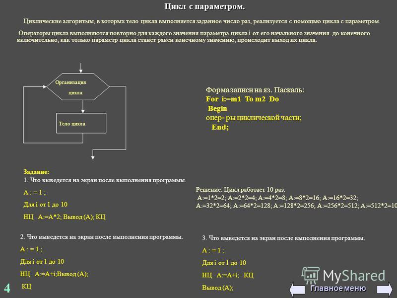 4 Организация цикла Тело цикла Задание: 1. Что выведется на экран после выполнения программы. А : = 1 ; Для i от 1 до 10 НЦ А:=А*2; Вывод (A); КЦ 2. Что выведется на экран после выполнения программы. А : = 1 ; Для i от 1 до 10 НЦ А:=А+i;Вывод (A); КЦ