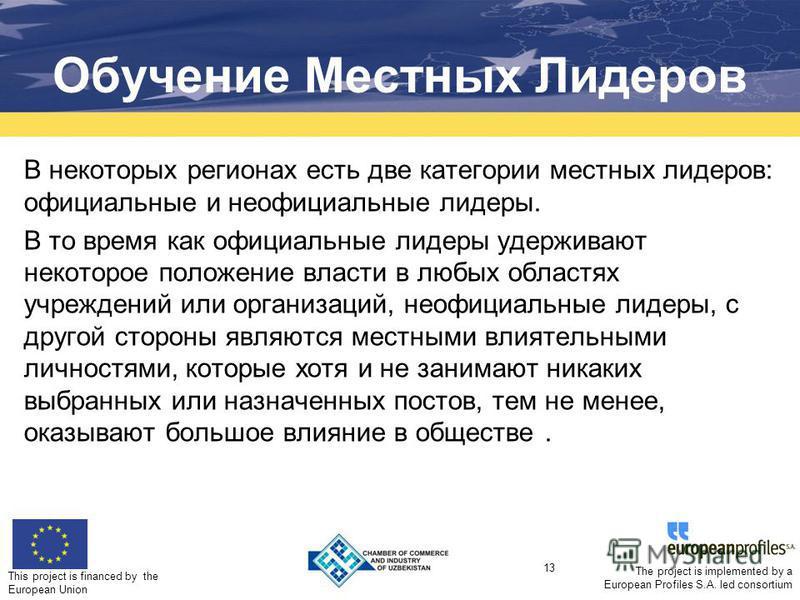 This project is financed by the European Union 13 The project is implemented by a European Profiles S.A. led consortium Обучение Местных Лидеров В некоторых регионах есть две категории местных лидеров: официальные и неофициальные лидеры. В то время к
