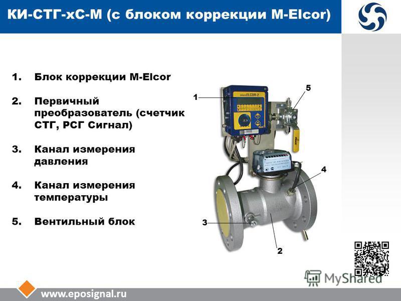 www.eposignal.ru КИ-СТГ-КС-М (с блоком коррекции M-Elcor) 1. Блок коррекции M-Elcor 2. Первичный преобразователь (счетчик СТГ, РСГ Сигнал) 3. Канал измерения давления 4. Канал измерения температуры 5. Вентильный блок 5 4 2 1 3