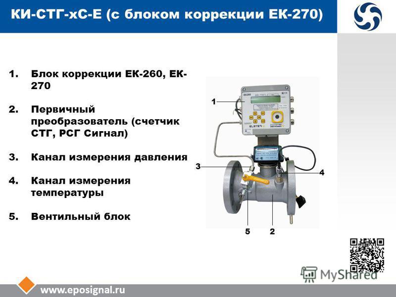 www.eposignal.ru 1. Блок коррекции ЕК-260, ЕК- 270 2. Первичный преобразователь (счетчик СТГ, РСГ Сигнал) 3. Канал измерения давления 4. Канал измерения температуры 5. Вентильный блок 3 52 4 1 КИ-СТГ-КС-Е (с блоком коррекции ЕК-270)