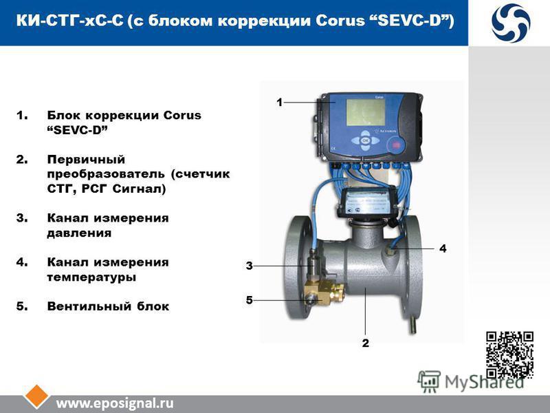 www.eposignal.ru КИ-СТГ-КС-С (с блоком коррекции Corus SEVC-D) 1. Блок коррекции Corus SEVC-D 2. Первичный преобразователь (счетчик СТГ, РСГ Сигнал) 3. Канал измерения давления 4. Канал измерения температуры 5. Вентильный блок 3 5 2 4 1