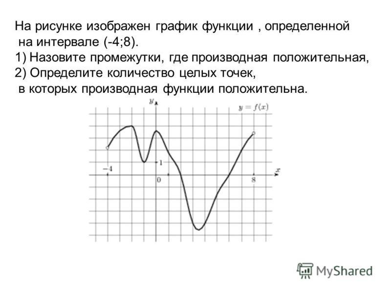 На рисунке изображен график функции, определенной на интервале (-4;8). 1)Назовите промежутки, где производная положительная, 2) Определите количество целых точек, в которых производная функции положительна.